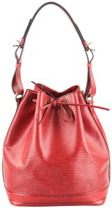 Louis Vuitton Noe Leather Canvas Tote in Red