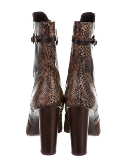 Tory Burch Leather Snakeskin Suede Ankle Brown Boots