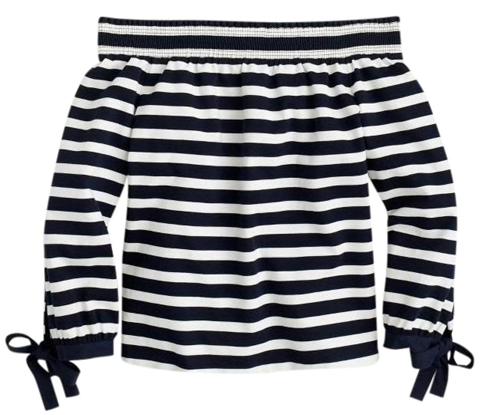 129b9559e274ff J.Crew Navy Ivory Striped Long-sleeve Off-the Shoulder Blouse Size 8 ...
