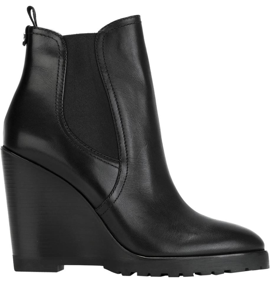 Michael Kors Black Leather Ankle Wedge Pull On Boots Booties Size US ... 5be67766e412