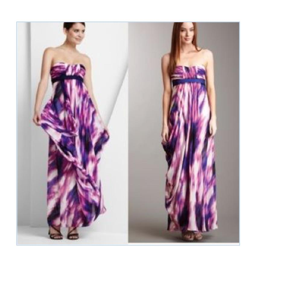 BCBGMAXAZRIA Purple Watercolor Bcbg Gown Long Formal Dress Size 0 ...