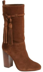 Vince Camuto Suede Leather Ankle Tassels Brown Boots