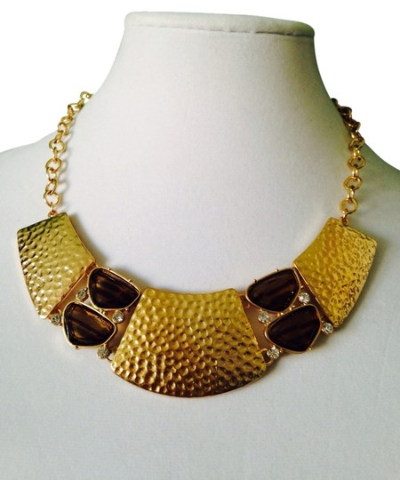 Preload https://item5.tradesy.com/images/2-b-rych-goldbrown-nwot-hammered-gold-tone-and-smoky-glass-and-white-crystal-statement-necklace-2246119-0-0.jpg?width=440&height=440