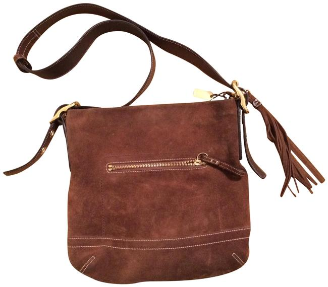 Coach With Dark Brown Suede and Leather Shoulder Bag Image 1