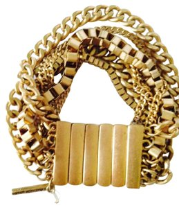 Kenneth Cole NWOT Gold-Tone Bar & Chain Stretchable Bracelet