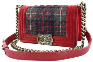 Chanel Christmas Green Plaid Velvet Cross Body Bag