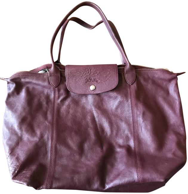 Item - Nwot Le Pliage Cuir Large Made In France Dustbag Maroon Lambskin Leather Tote
