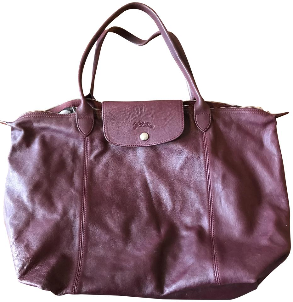 19f2b8a449d8 Longchamp Nwot Le Pliage Cuir Large Made In France Dustbag Maroon Lambskin  Leather Tote