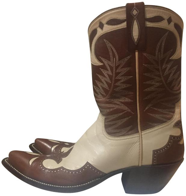 Item - Brown & Cream Signed By Tyler Beard. Teresa Style; Tyler Beard Collection Boots/Booties Size US 8.5 Regular (M, B)