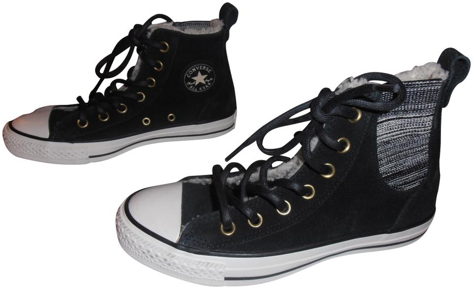 168a2127a8c8 Converse Black All Star Chuck Taylor Suede High Top Fur Lined Sneakers