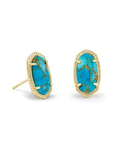Kendra Scott NEW Kendra Scott Ellie Bronze Veined Turquoise Stud Earrings 14k Gold