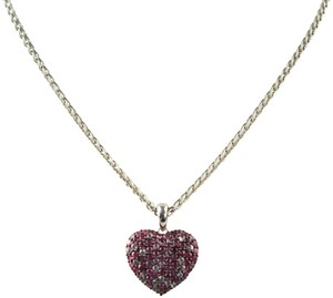 EFFY 925 Pink and White Sapphire and Sterling Silver Heart Pendant Necklace