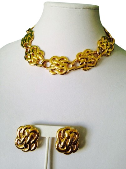 Anne Klein 2-Piece Set Gold-Tone Double Knot Necklace & Earrings