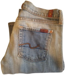 7 For All Mankind Denim Machine Washable Boot Cut Jeans-Light Wash