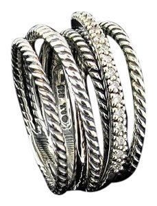 David Yurman David Yurman Wide Crossover Ring with Diamonds Size 7.5