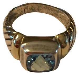 David Yurman Blue Topaz, Sterling Silver with Gold Accents Ring
