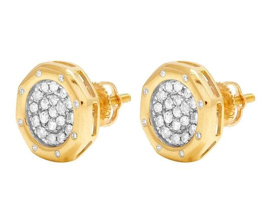 Jewelry Unlimited 10K Yellow Gold Genuine Diamond Octagon Cluster Stud Earrings 2/5 Ct