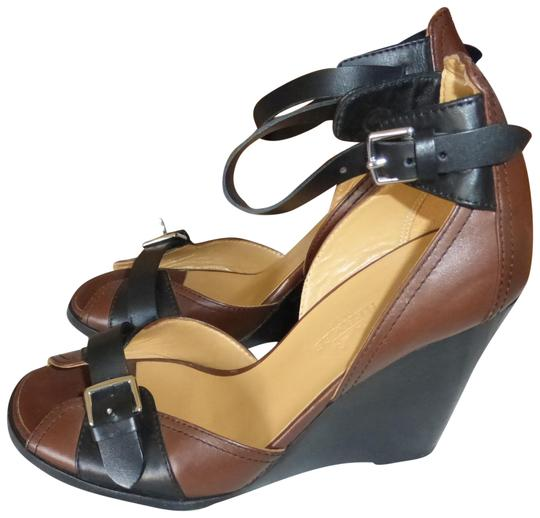 Preload https://img-static.tradesy.com/item/22461771/hermes-brown-and-black-leather-italy-wedges-size-eu-36-approx-us-6-regular-m-b-0-1-540-540.jpg