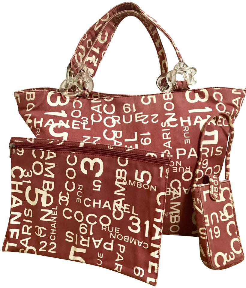 7113658103b498 Chanel Cambon Vintage Cc Logo Mania Large Rue Lucite Chain Red and Ivory  Canvas Tote