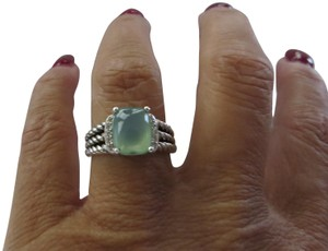 David Yurman Petite Wheaton Blue Chalcedony/Pave' Diamond Ring
