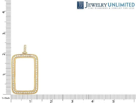 Jewelry Unlimited 10K Yellow Gold One Oz Coin Genuine Diamond Bar Bezel Pendant 3.5 Ct