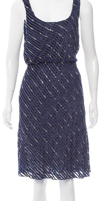 Item - Blue Navy Silver Sequin Velvet Party Mid-length Night Out Dress Size 12 (L)