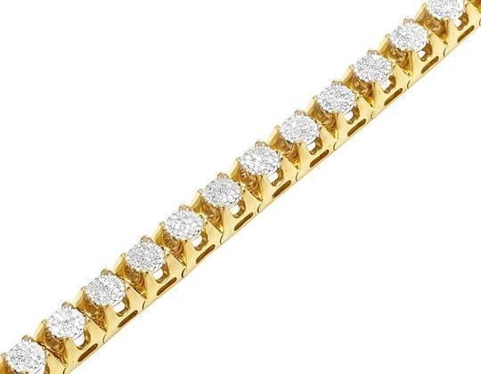 Jewelry Unlimited Mens 10K Yellow Gold Genuine Diamond 6MM Cluster Tennis Bracelet 2 CT