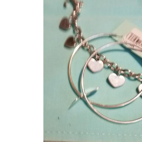 sterling silver earrings and bracelet , sterling silver heart hoop earrings with heart bracelet in sterling silver