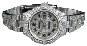 Rolex Ladies Datejust 27 MM Oyster Iced Out Dial Diamond Watch 9.75 Ct