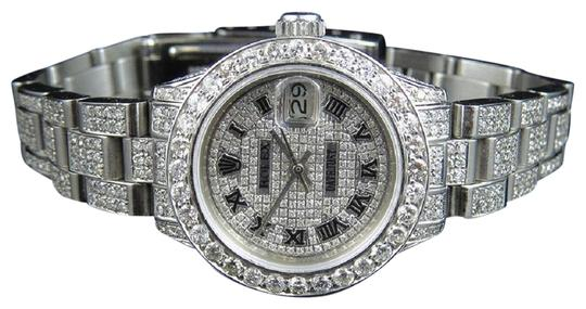 Preload https://img-static.tradesy.com/item/22462162/rolex-steel-ladies-datejust-27-mm-oyster-full-iced-out-dial-diamond-975-ct-watch-0-1-540-540.jpg