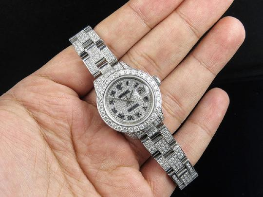 Rolex Ladies Datejust 27 MM Oyster Full Iced Out Dial Diamond Watch 9.75 Ct