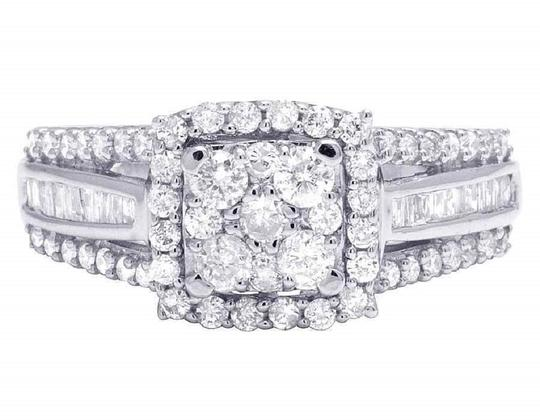 Jewelry Unlimited Ladies 10K White Gold Round Baguette Diamond Engagement Ring 1.0 Ct