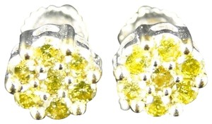 Jewelry Unlimited 10K White Gold 7mm Mens/Womens Canary Diamond Stud Earrings .67 Ct