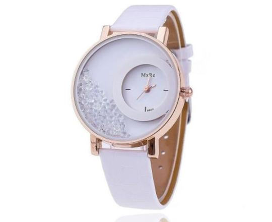Preload https://img-static.tradesy.com/item/22462247/white-gold-women-fashion-crystal-leather-wristwatch-watch-0-0-540-540.jpg