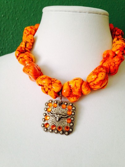 My Closet- Embellished by Leecia Embellished by Leecia 2-Piece Set Large Orange Turquoise & Crystal Silver Necklace & Bracelet