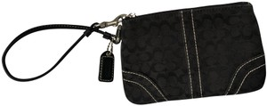 Coach Canvas Leather Wristlet in Black/Silver