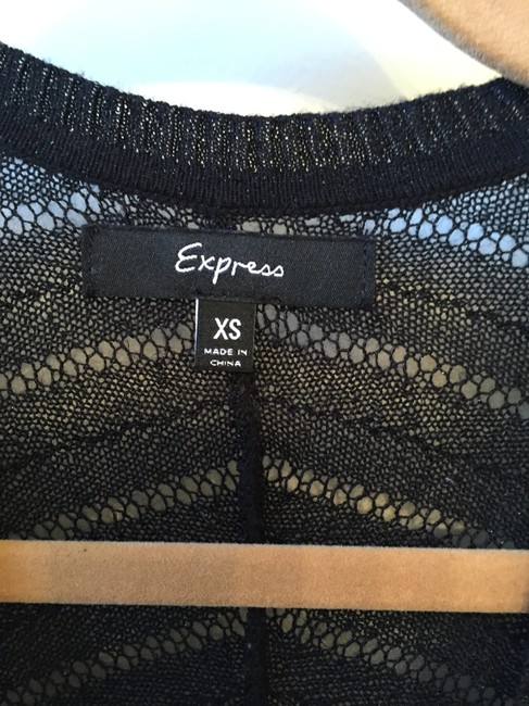Express Kimono Lightweight Sweater Open Knit Sparkle Top Black