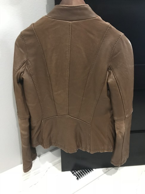 MICHAEL Michael Kors Leather Moto Brown Jacket