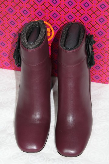 Tory Burch Leather Floral Embellished Burgundy port Boots