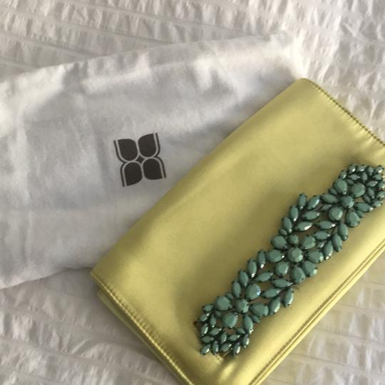 BCBGMAXAZRIA Chartreuse and Turquoise Clutch