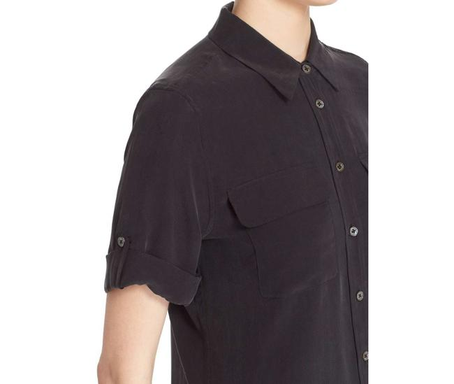 Equipment Silk Summer Polished Classic Top Black