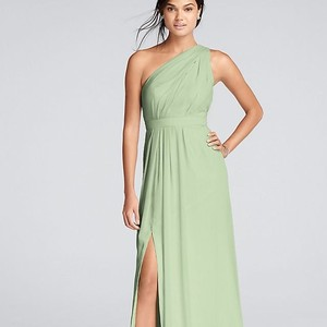 David's Bridal Meadow Polyester Chiffon Long One Shoulder Crinkle Formal Bridesmaid/Mob Dress Size 2 (XS)
