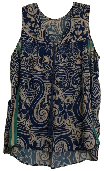 Preload https://img-static.tradesy.com/item/22462634/anthropologie-blue-white-seagreen-unknown-blouse-size-12-l-0-1-650-650.jpg