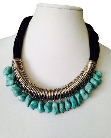 Preload https://img-static.tradesy.com/item/2246266/turquoisesilverblack-embellished-by-leecia-2-piece-set-nwot-leather-statement-necklace-and-bracelet-0-0-540-540.jpg