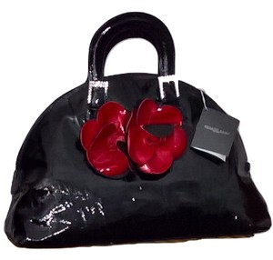 Renato Angi Prada Designer Patent Leather Red Purse Satchel in BLACK