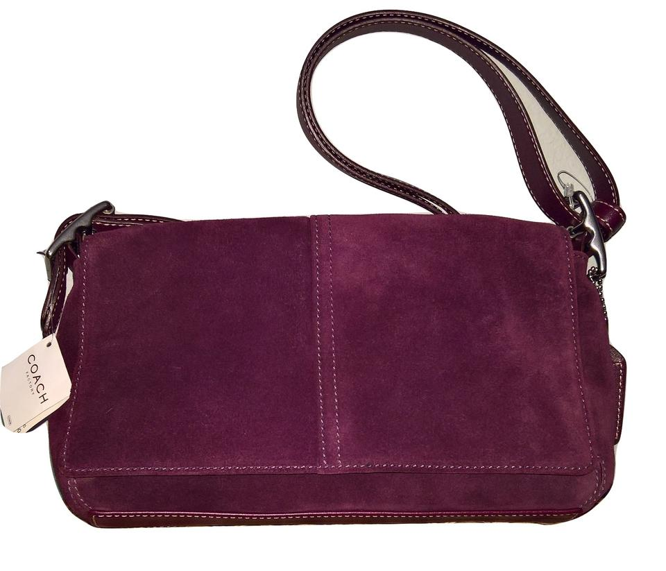 Coach Nickel Double Strap Red Wine Burgundy Suede Leather Shoulder ... 716ae27611498