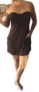 Planet Gold short dress Brown Mini Strapless Pockets on Tradesy