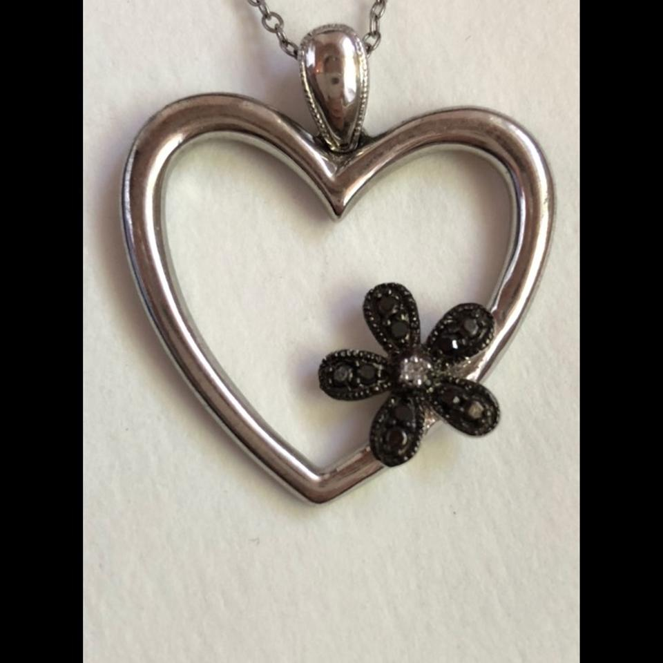 Nordstrom silver heart with black diamond flower pendant necklace diamond flower pendant 1234 aloadofball Gallery