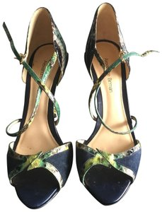 Alexandre Birman Navy blue w/ multi snakeskin Sandals