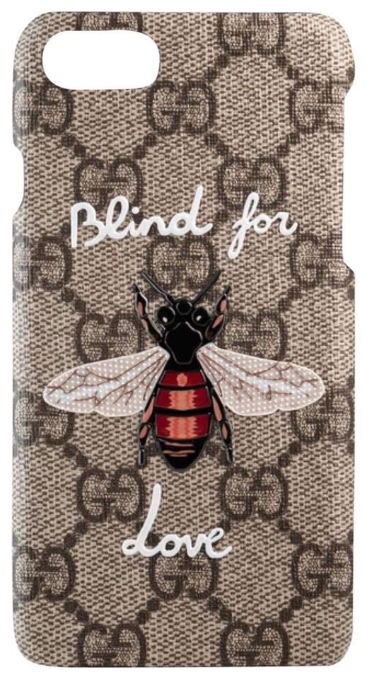 finest selection c4366 4ac88 Gucci Gg Black and Beige Blind For Love Iphone 7 Case with Bee Tech  Accessory 45% off retail
